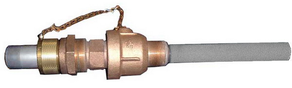 corporation stop style porous gas injector removable under pressure